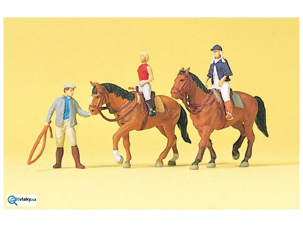 H0 - Jezdci na koních, 3 figurky a 2 koně / Preiser 10502