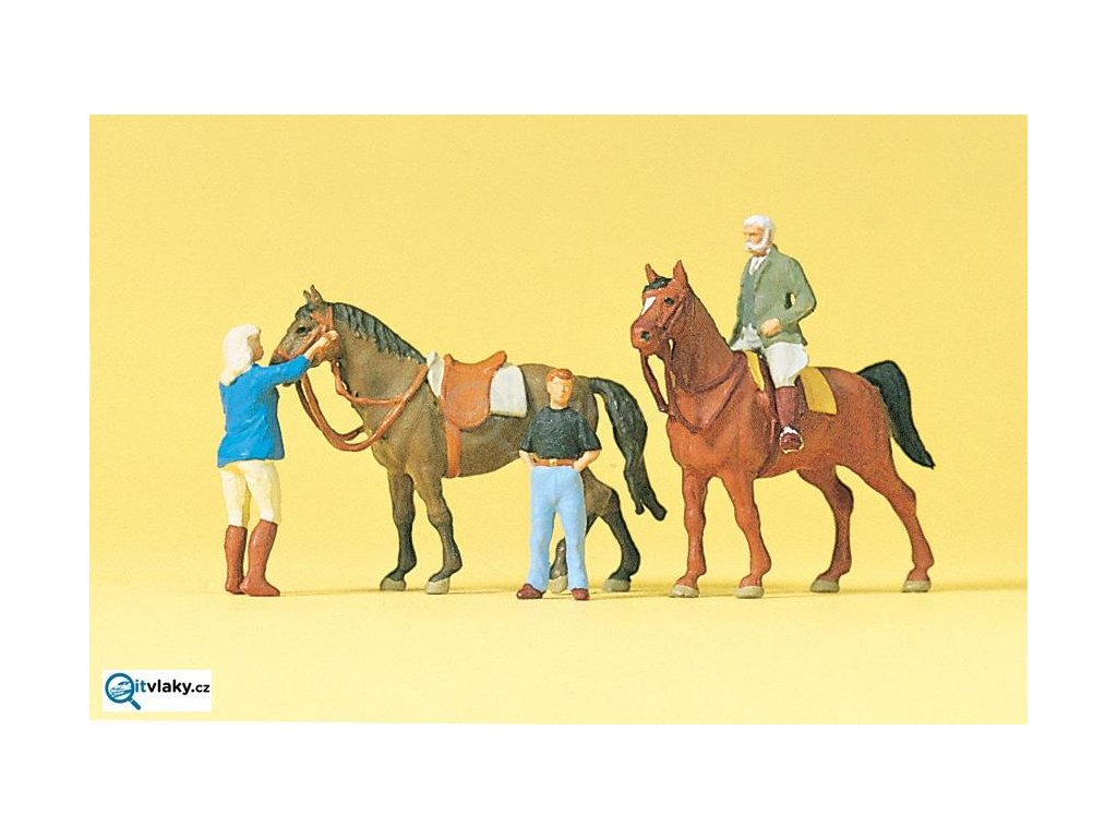 H0 - Na koňské farmě, 3 figurky a 2 koně / Preiser 10503