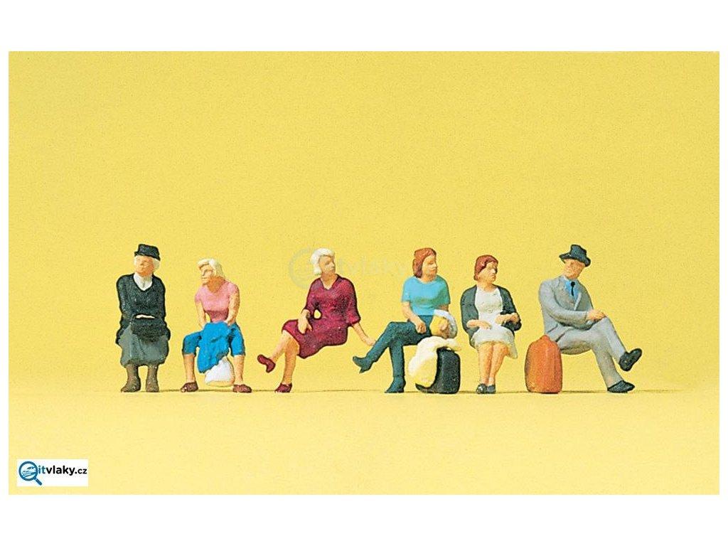 H0 - Sedící cestující, 6 figurek / Preiser 10506