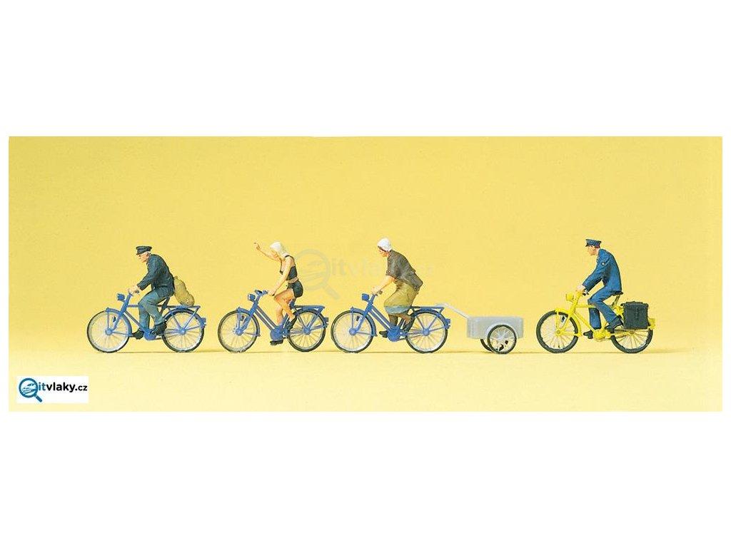 H0 - Cyklisté, 4 figurky / Preiser 10507