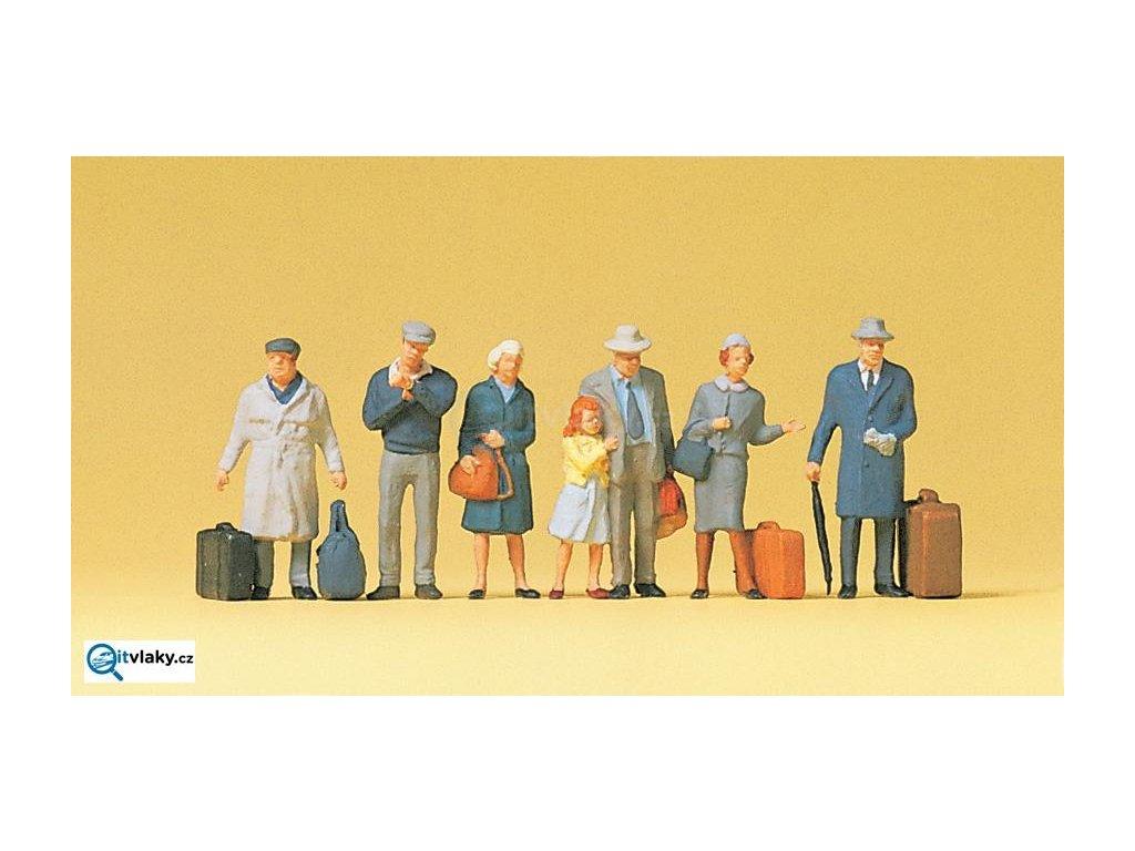 H0 - cestující na nádraží, 7 figurek / Preiser 10513
