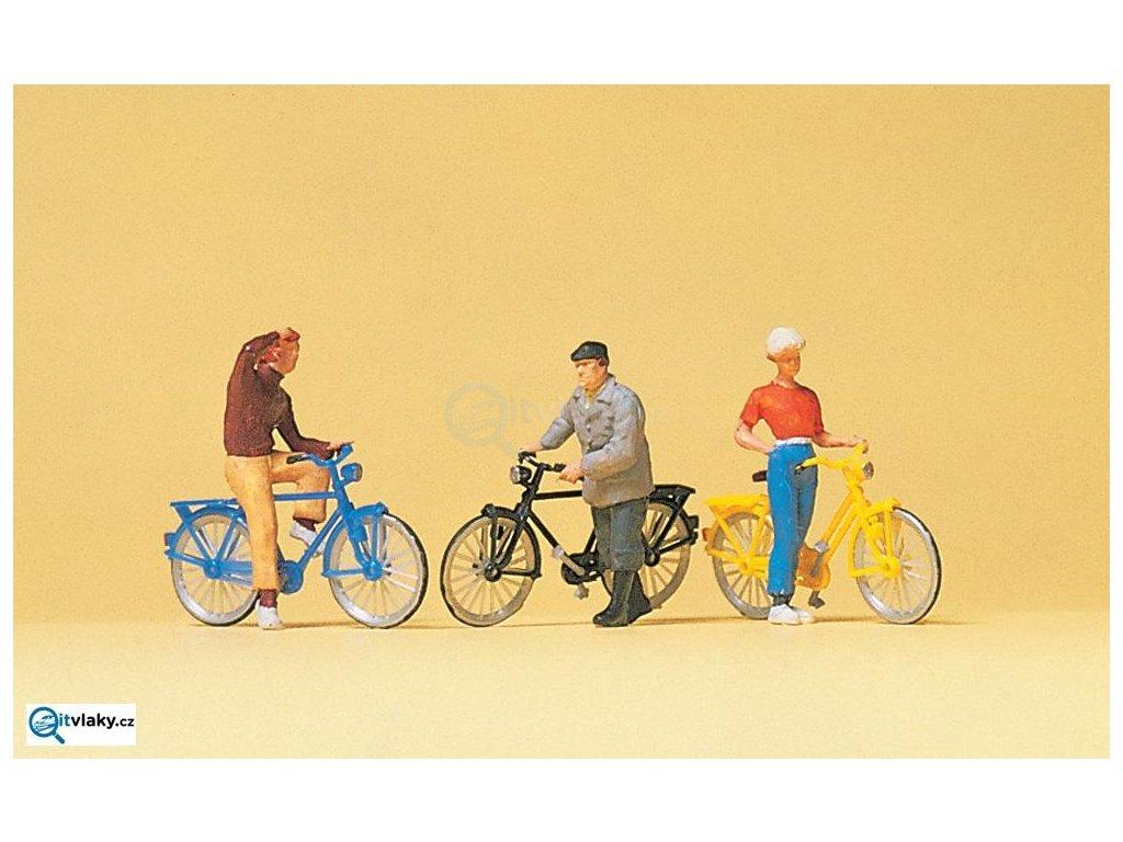 H0 - Cyklisté, 3 figurky / Preiser 10515