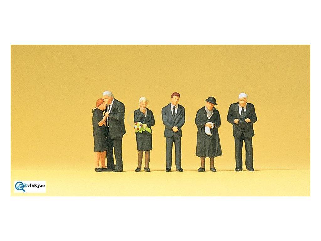 H0 - Smuteční hosté (pohřeb), 6 figurek / Preiser 10521