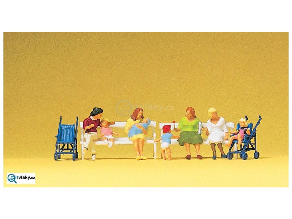 H0 - Maminky s dětmi, 8 figurek / Preiser 10522