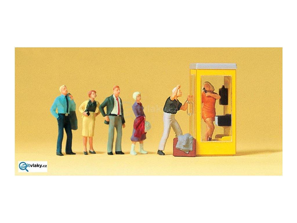 H0 - Čekání na telefon, 6 figurek / Preiser 10523