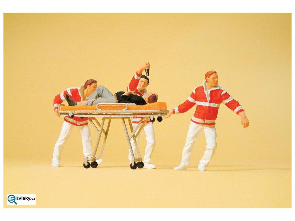 H0 - Zdravotníci s nosítky, 4 figurky / Preiser 10532