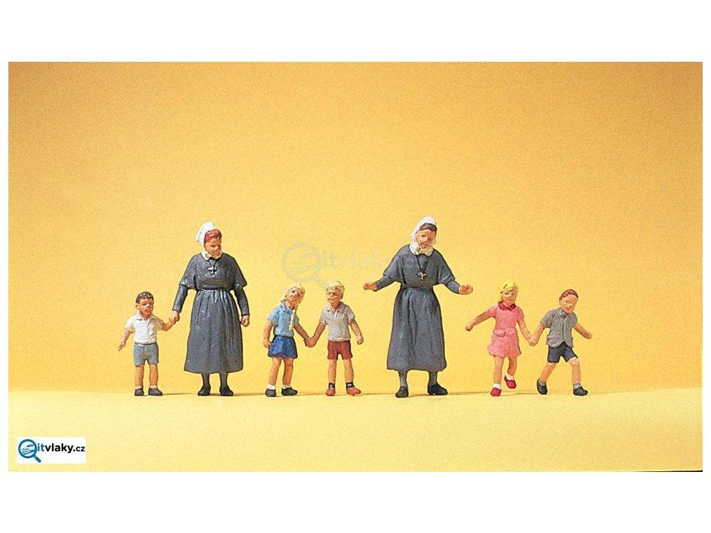 H0 - Chůvy s dětmi, 7 figurek / Preiser 10533