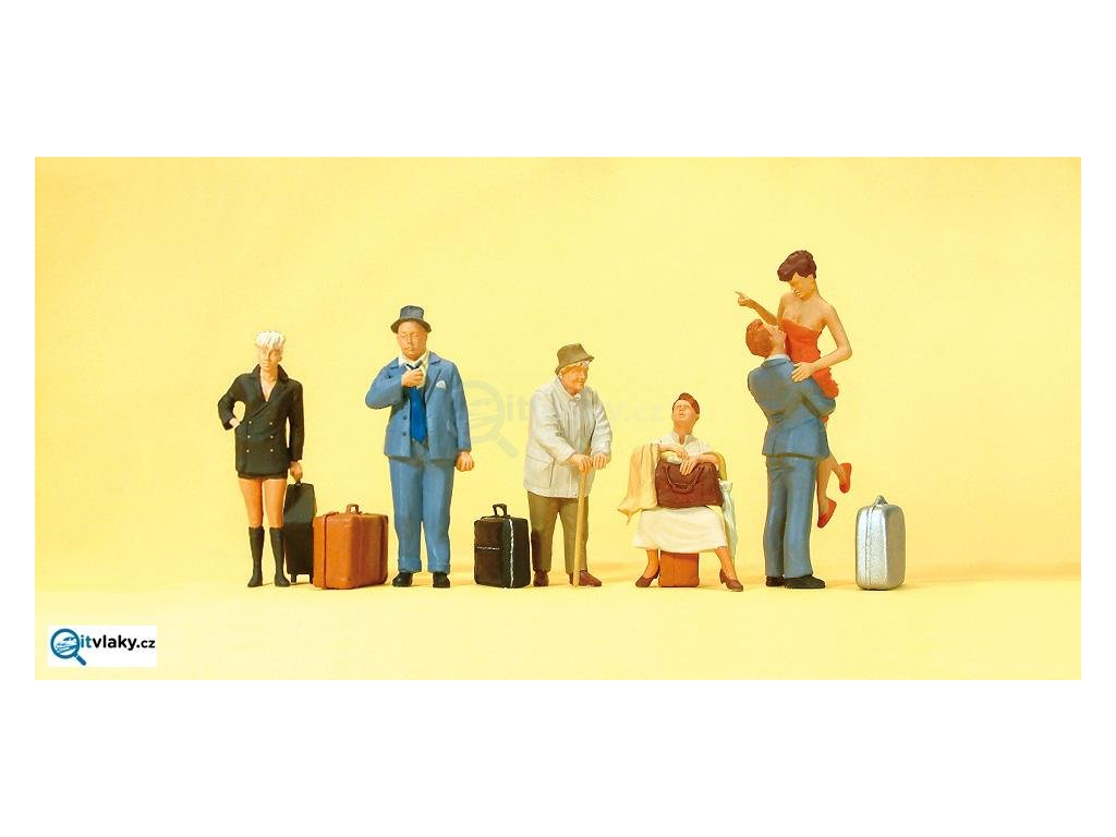 H0 - Cestovatelé, 6 figurek / Preiser 10540