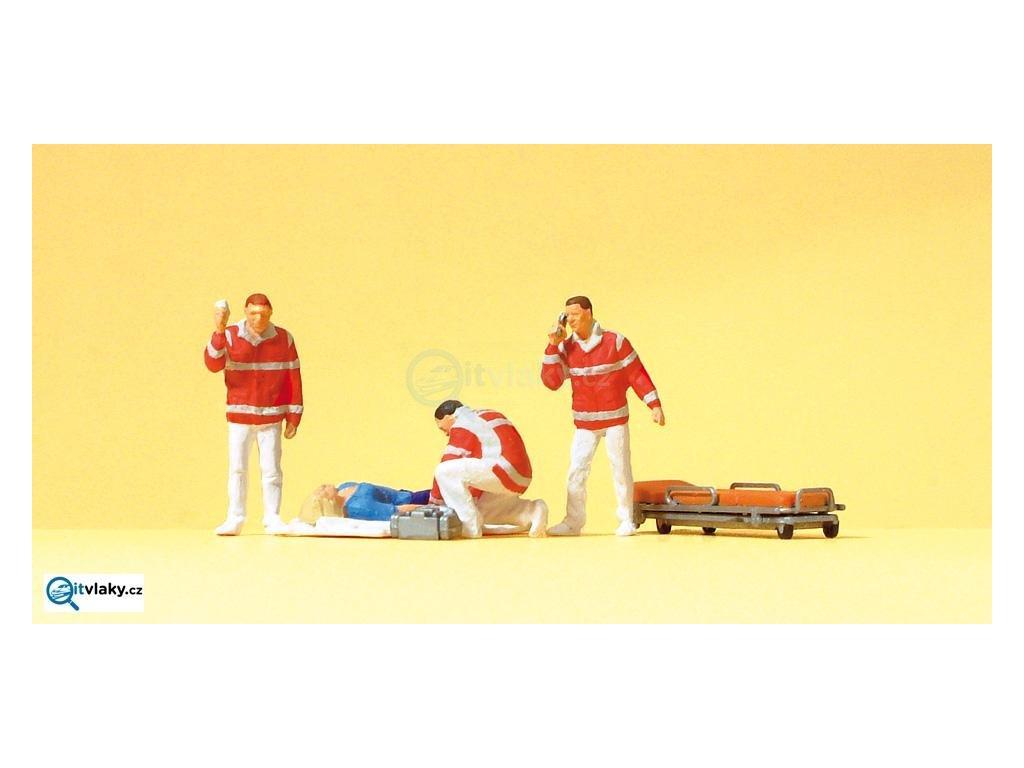 H0 - Záchranáři, 4 figurky / Preiser 10543