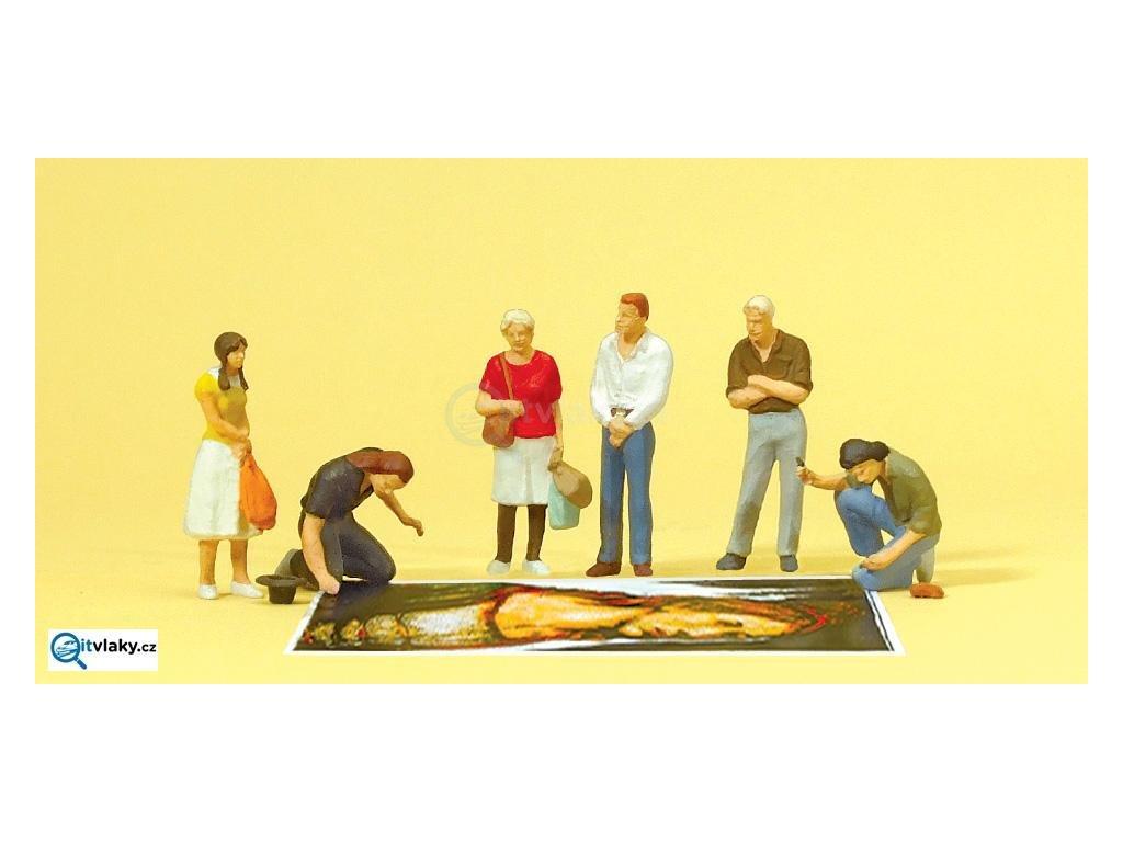H0 - Pouliční malíři a chodci, 6 figurek / Preiser 10549