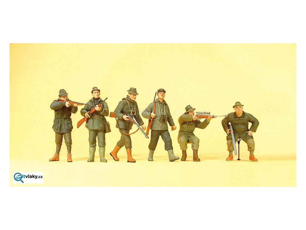 H0 - Myslivci, 6 figurek / Preiser 10552