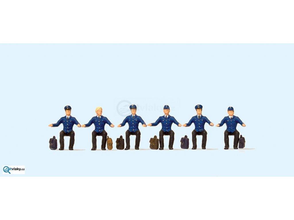 H0 - Strojvedoucí DB sedící, 6 figurek / Preiser 10557