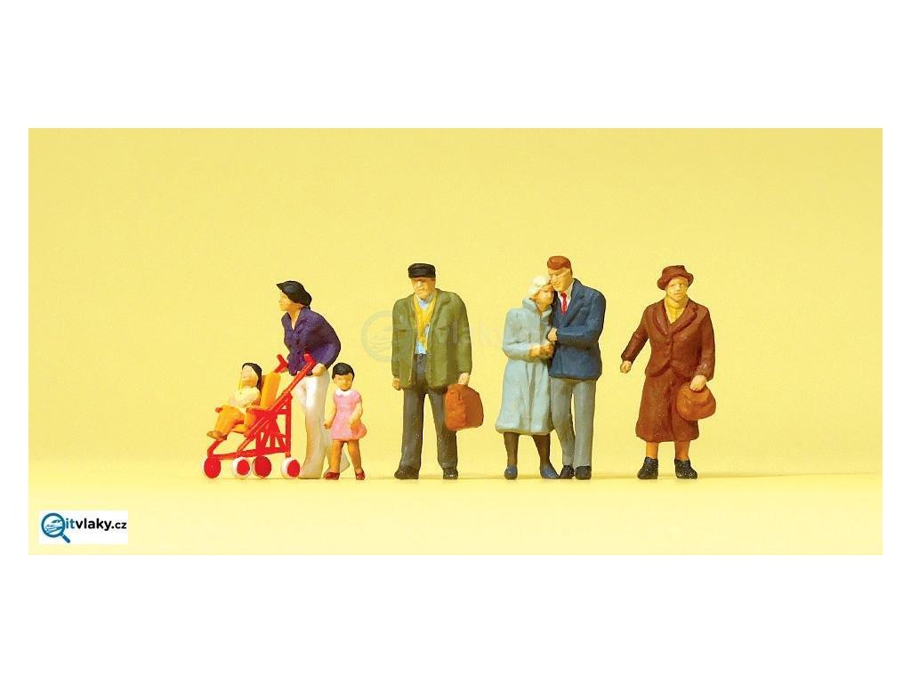 H0 - Cestující, dětský kočárek, 7 figurek / Preiser 10564