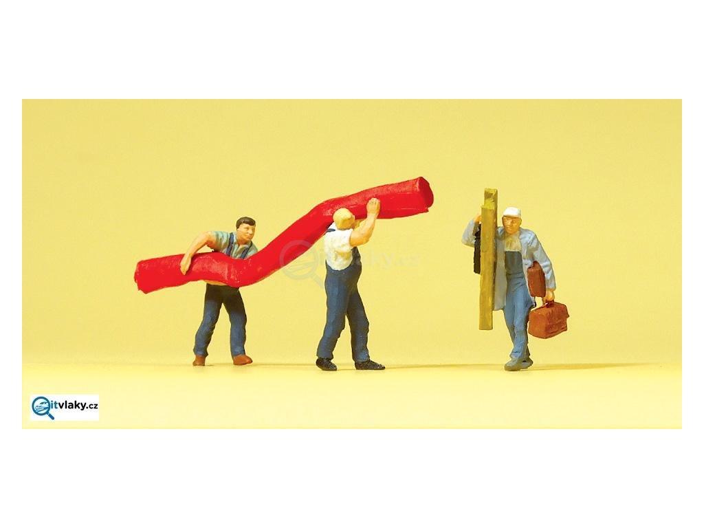 H0 - Dělníci s kobercem, 3 figurky / Preiser 10568