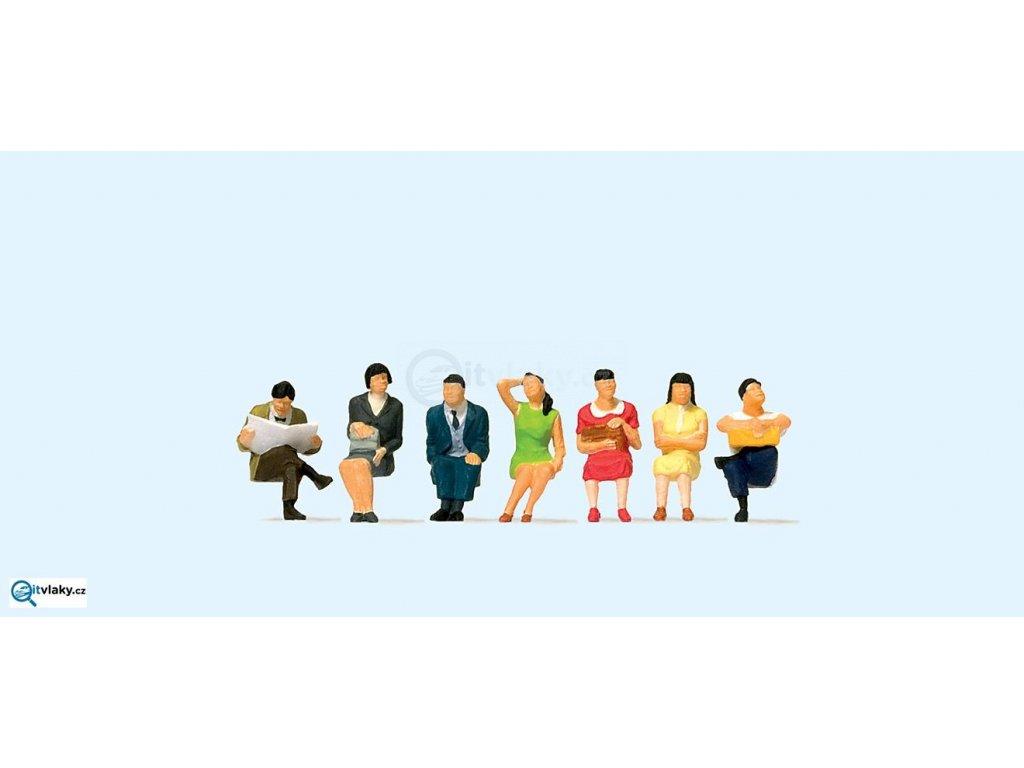 H0 - Sedící cestující Čína, 7 figurek / Preiser 10573