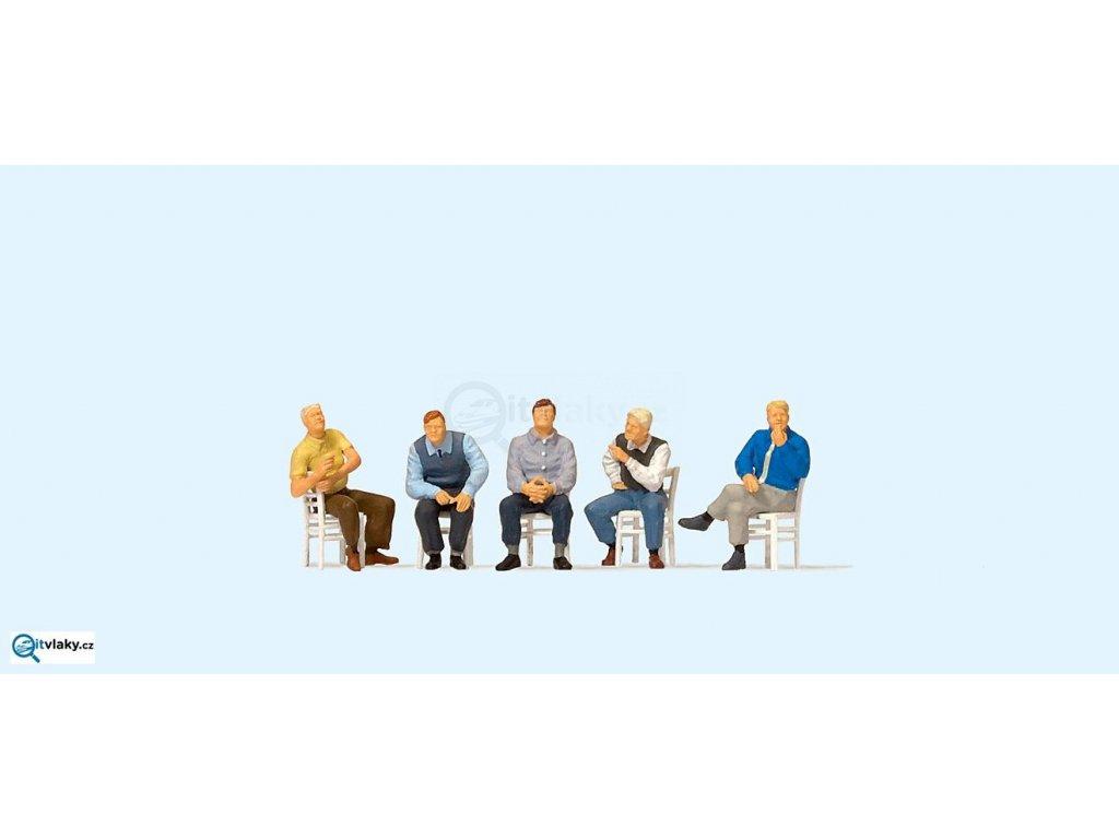 H0 - Čekající sedící muži, 5 figurek / Preiser 10579
