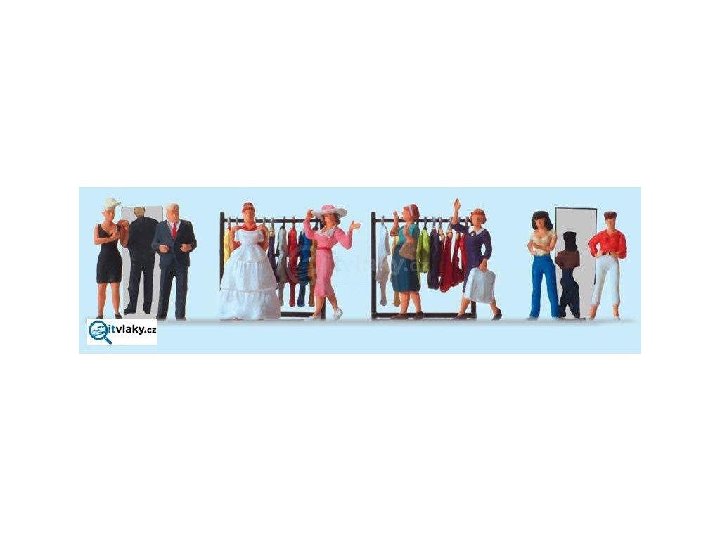 H0 - V obchodě s módou, 8 figurek / Preiser 10586