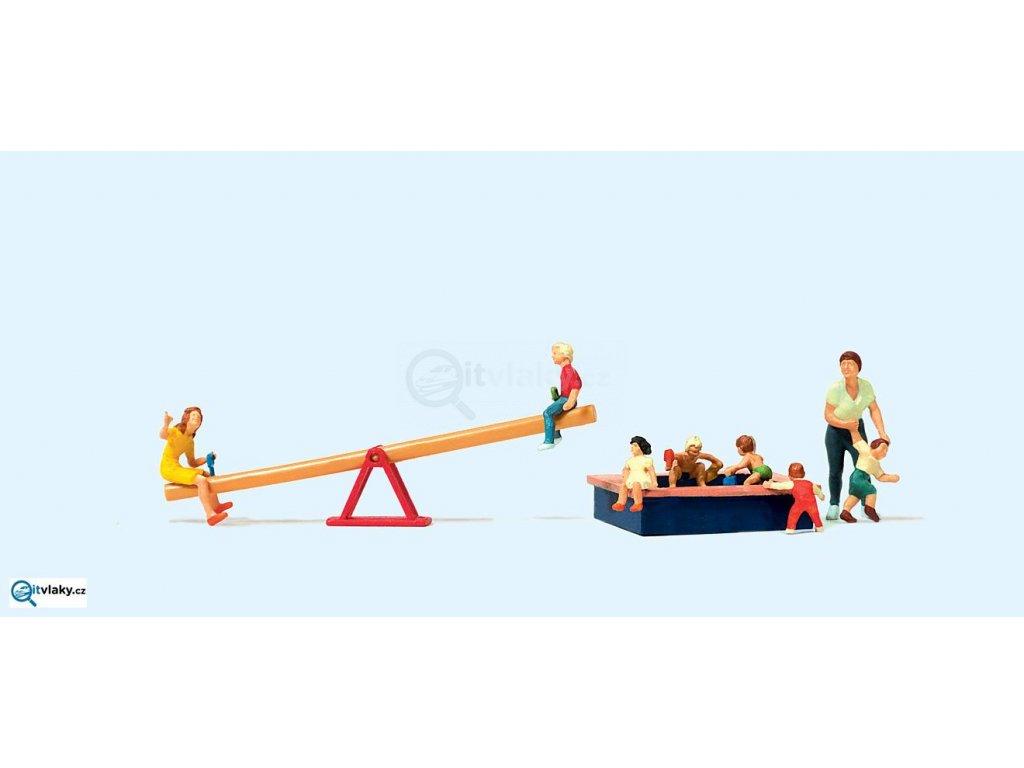 H0 - Děti na pískovišti, 8 figurek / Preiser 10587
