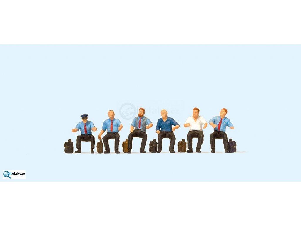 H0 - Strojvedoucí DB,sedící, 6 figurek / Preiser 10598