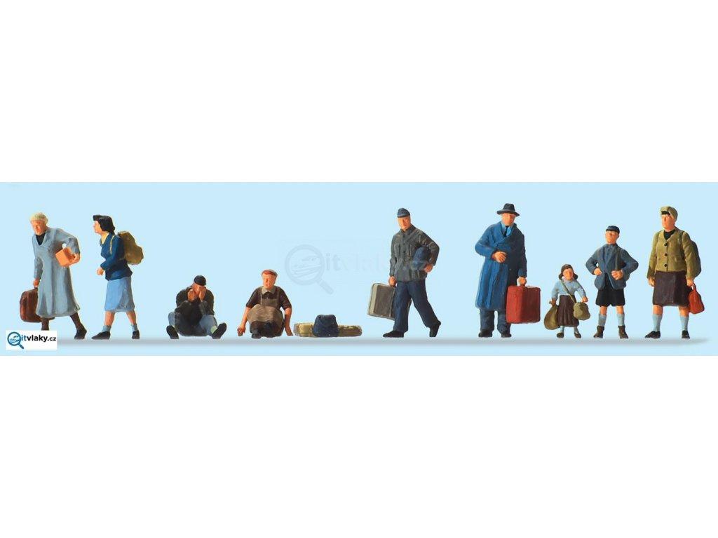 H0 - Uprchlíci, 9 figurek / Preiser 10611