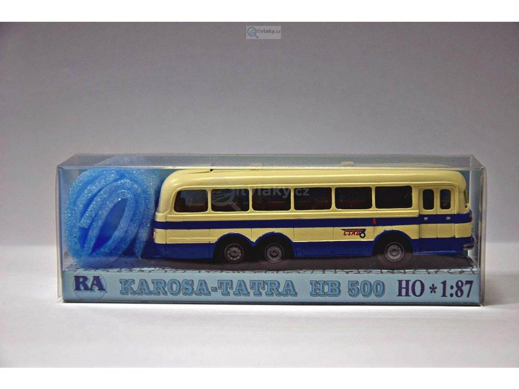 H0 - Tatra Karosa HB 500 modro/bílý pruh / RA Došlý 108102