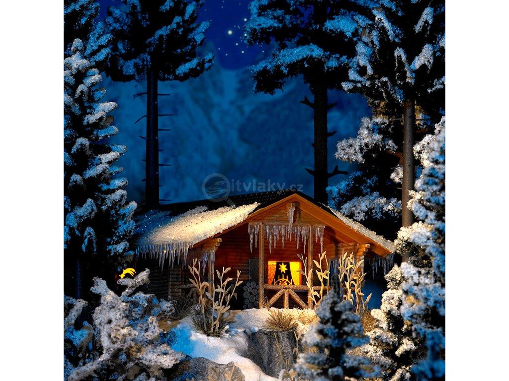 236383 h0 drevena chata v zime s osvetlenim busch 1085