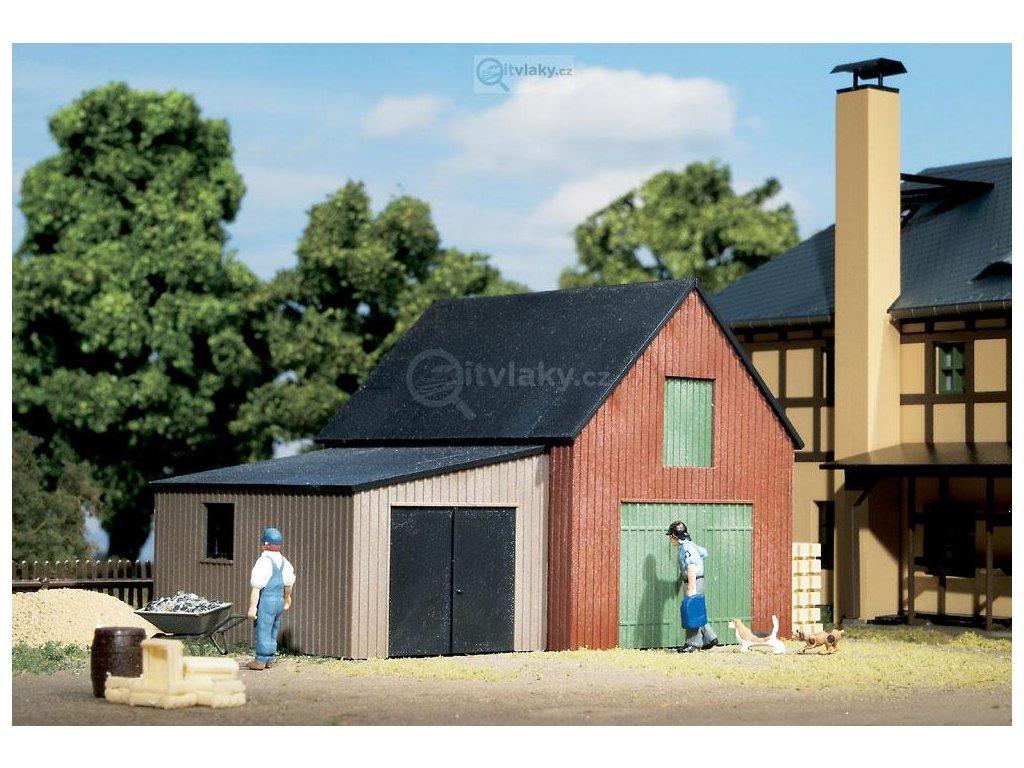 H0 - Skladiště s garáží, stavebnice / Auhagen 11408