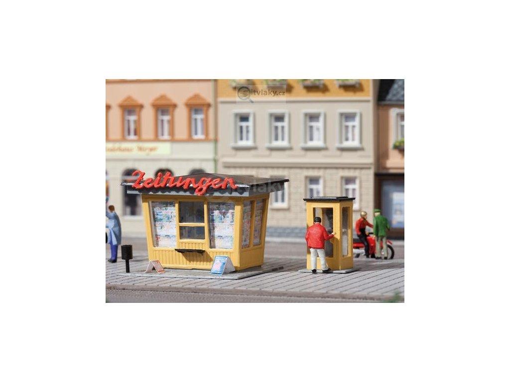 H0/TT - Novinový stánek a tel. budka / Auhagen 12340