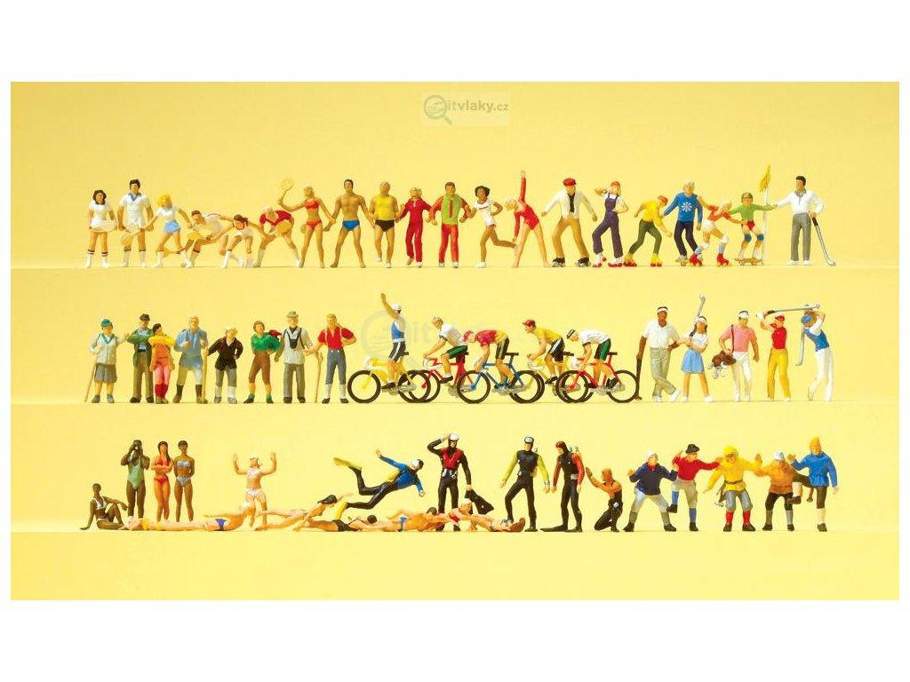H0 -  figurky 60 ks, sport a volný čas / Preiser 13005