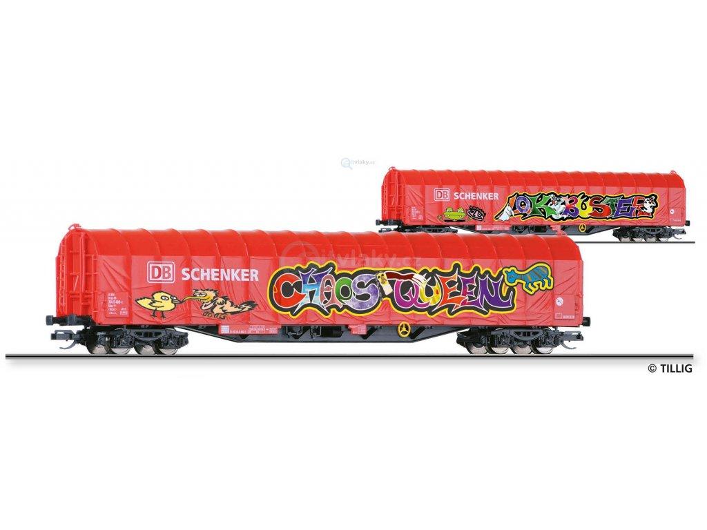 TT - plachtový vůz Rils 652 DB Schenker s Graffiti / Tillig 15750 E