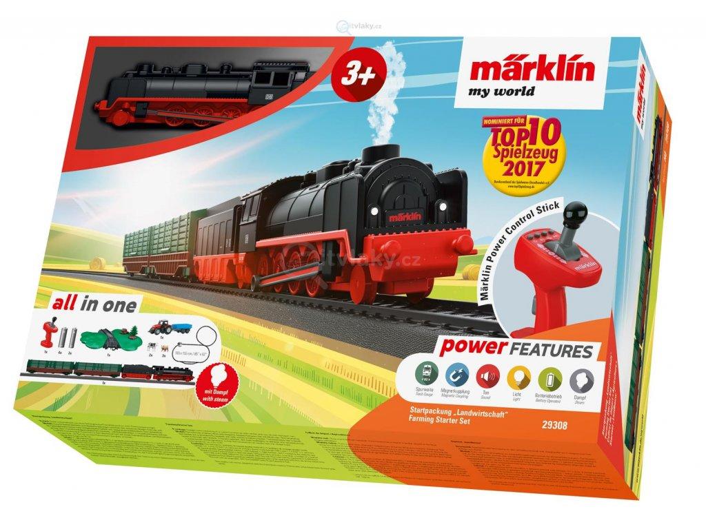 H0 - Dětský startovní set - parní kouřící vlak na farmu, zvuk / Marklin 29308