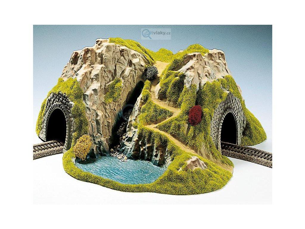 TT - Zahnutý tunel jednokolejný s krajinou / NOCH 48730