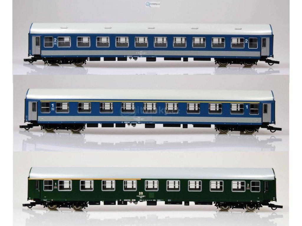 """H0 - Set tří osobních vozů D270 """"Meridian"""" MAV, DR - 1.část  / ROCO 64195"""