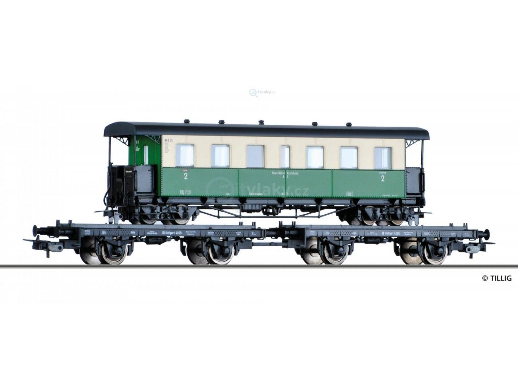 H0 - Set dvou plošinových vozů ložených osobním vozem H0e, DB / Tillig 70037