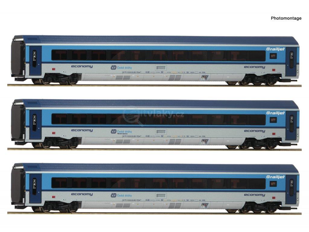422847 h0 dcc 3 dilny doplnujici set vozu railjet cd s vnitrnim osvetlenim roco 74140