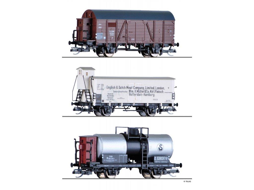 TT - set tří nákladních vozů BDZ, DRG, ČSD / Tillig 01817