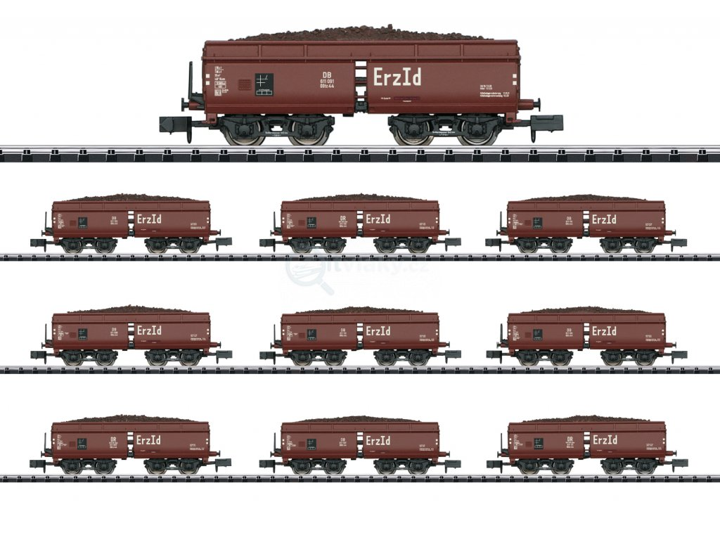 429456 n 10 dilny set otevrenych vozu ootz 44 db trix 15449