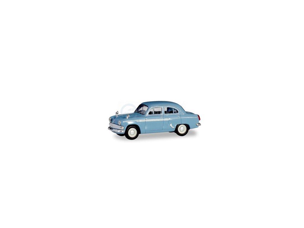 H0 - Moskwitsch 403, pastelově modrý / Herpa 023672-004