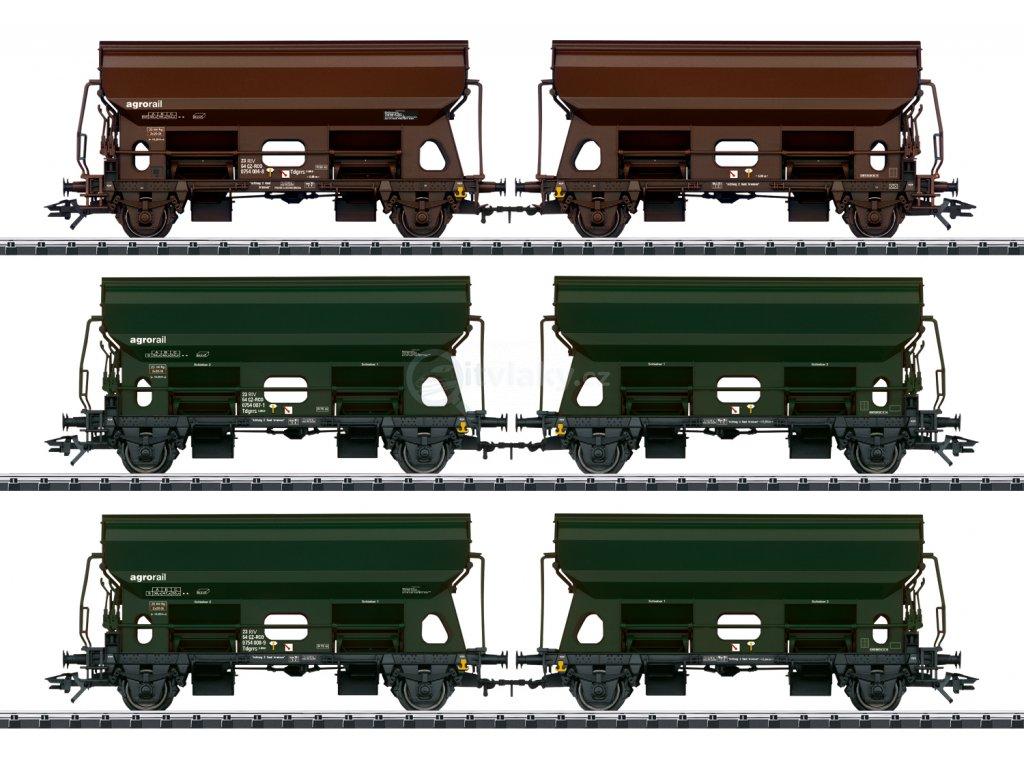 447275 1 h0 set 6 vysypnych vozu tds agrorail trix 24169