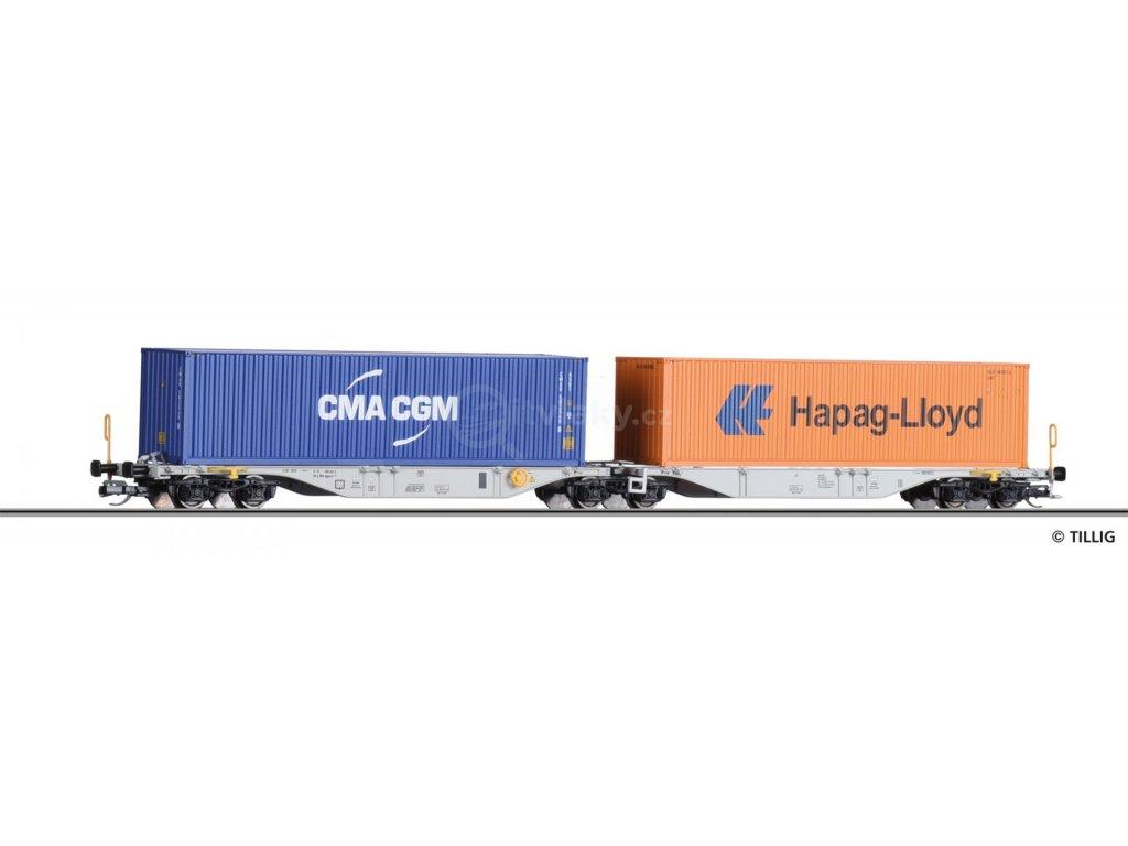TT - set dvou vozů Sggmrss 578.0 Kombiwaggon s  40' kontejnery, ÖBB / TILLIG 18063