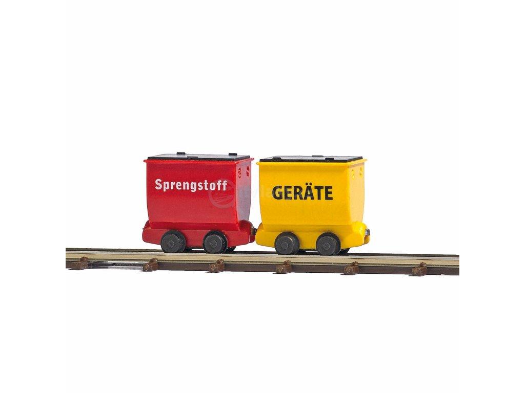 H0/H0f - důlní vozíky, 2 ks s přístroji, Sprengstoff  / Busch 12261