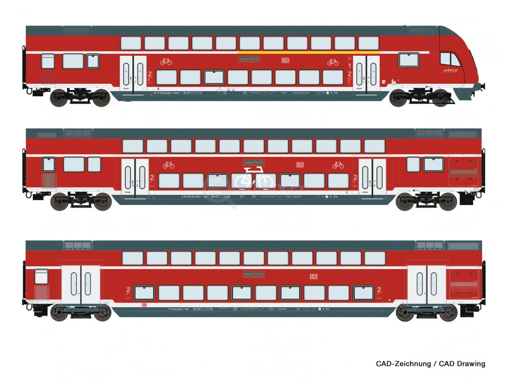 H0 - set 3 ks patrových vozů s řídícím vozem, DB AG / ROCO 74150