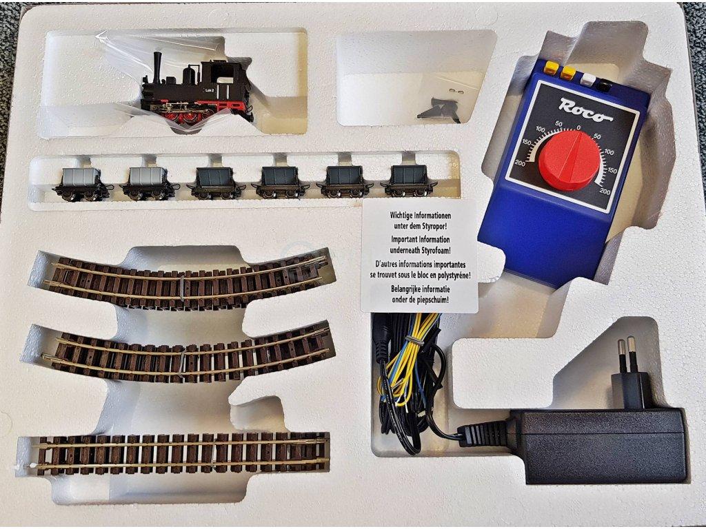 H0e - Startset Polní parní dráha s nákladními 6 vozy / ROCO 31035