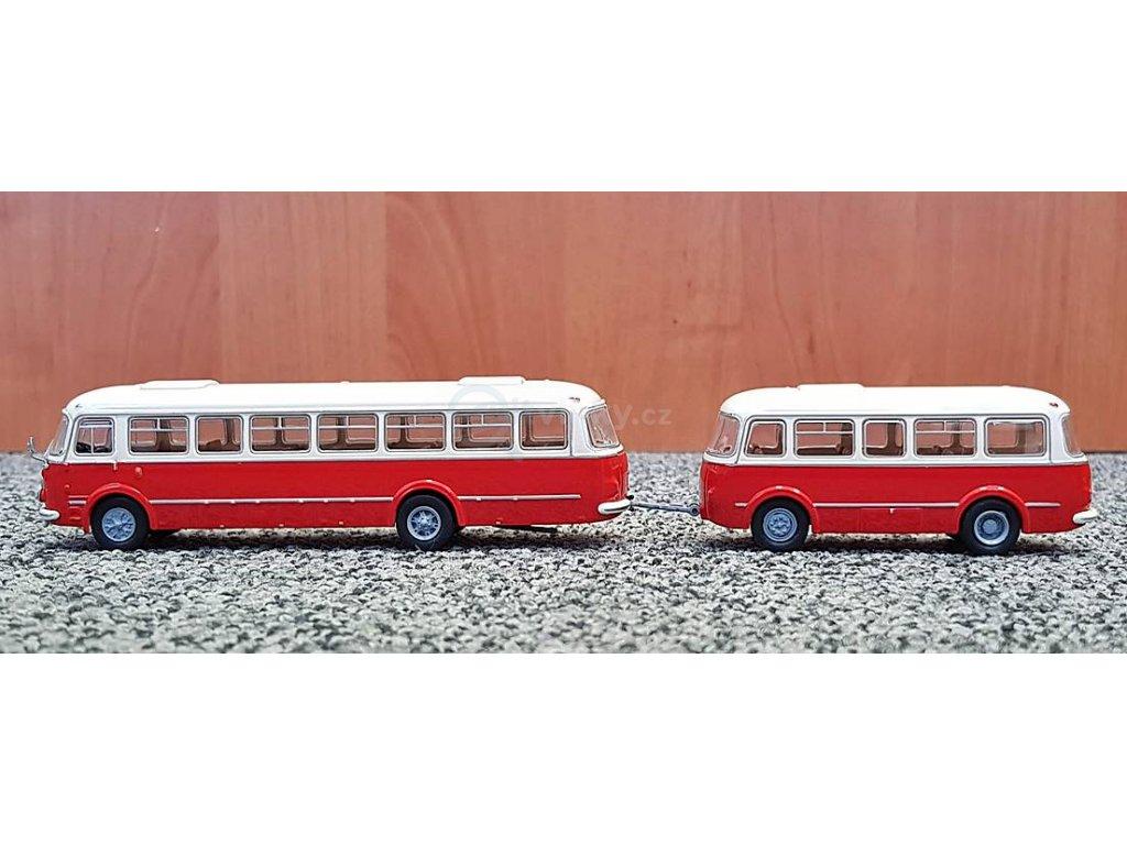 H0 - autobus ZS Jelcz 043 s P-01 přívěsem, bílá/červená, 1964 / Brekina 58263