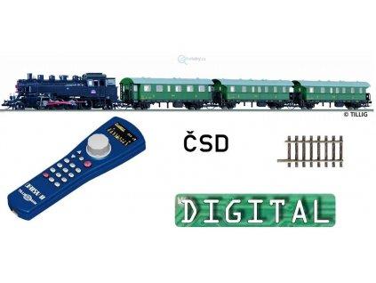 VYPRODÁNO! TT - DCC Start set ČSD parní 455.2 + 3 vozy, el. výhybka/ TILLIG 01211
