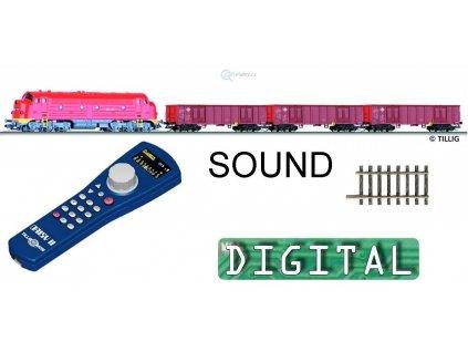 TT - DCC/ZVUK Start set - lokomotiva M61 sound, vozy MAV, koleje / TILLIG 01212