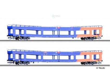 Poslední! TT - set dvou vozů DDm 916 pro přepravu automobilů ZSSK/ Tillig 01668
