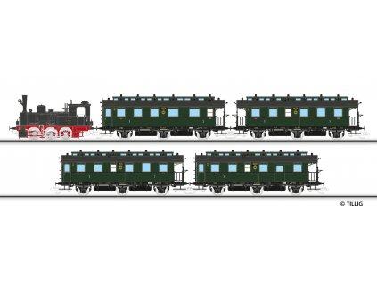 TT - DCC parní lokomotiva BR 89.70 DRG + 4 os. vozy/  TILLIG 01751