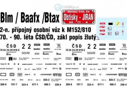 TT - obtisk na 2-osý přípojný osobní vůz Blm/Baafx/Btax k M 152/810 / Jiran 0219