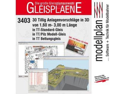CD-ROM GLEISPLANE 3403 -  Plány kolejišť do 3 m v TT /TILLIG 09548